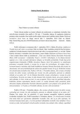 Podnet na trestné stíhanie Ondreja Dostála, 8. septembra 2014