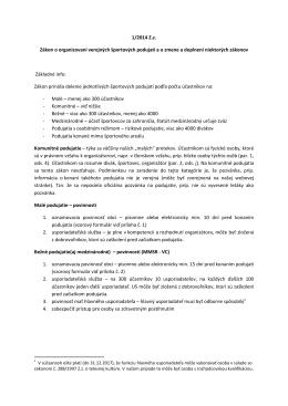1/2014 Zz Zákon o organizovaní verejných športových podujatí ao