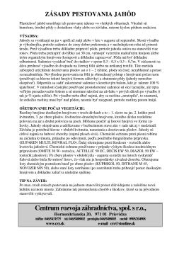zásady pestovania jahôd - Centrum rozvoja záhradníctva, spol. s ro