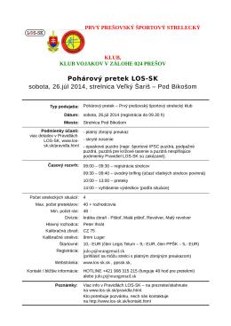Pohárový pretek LOS-SK sobota, 26.júl 2014, strelnica Veľký Šariš