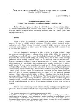 Metodické usmernenie č. 2/2014 Záväzné vnútropodnikové pravidlá