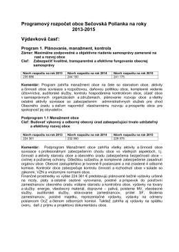 Schválený programový rozpočet obce Sečovská Polianka na rok 2013