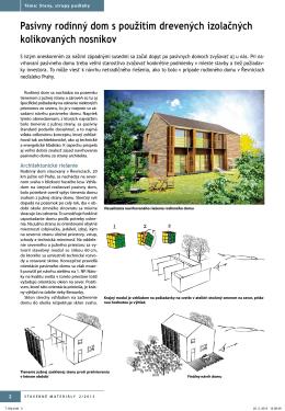 Pasívny rodinný dom s použitím drevených izolačných kolíkovaných