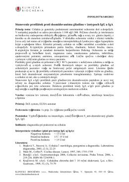 Stanovenie protilátok proti deamidovanému gliadínu v izotypoch IgG