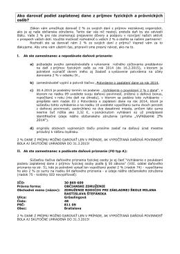 Ako darovať 2% za rok 2014 - ZŠ s MŠ Milana Rastislava Štefánika