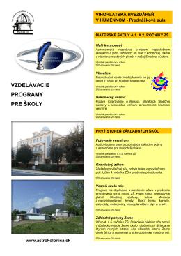 Ponukový list – Vihorlatská hvezdáreň (formát PDF, veľkosť 718,1 kB)