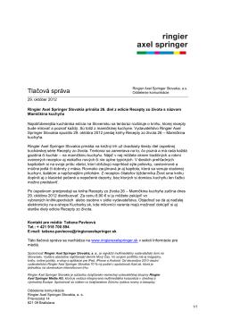 Tlačová správa 29.10.2012.pdf - Ringier Axel Springer Slovakia