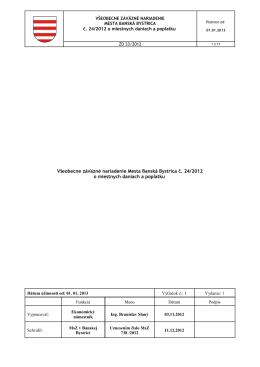 Všeobecne záväzné nariadenie Mesta Banská Bystrica č. 24/2012 o