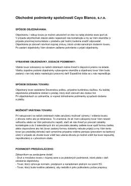 Obchodné podmienky spoločnosti Cayo Blanco, s.r.o.