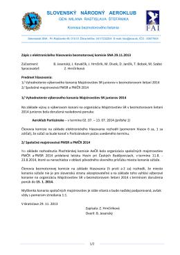 Zápis z elektronického hlasovania bezmotorovej komisie z 29.11.2013