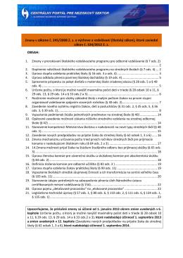 Zmeny v zákone č. 245/2008 Z. z. o výchove a vzdelávaní (školský