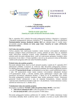 Vyhodnotenie 4. ročníka česko-slovenského projektu pre základné