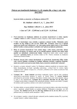 Pokyny pre končiacich študentov I. a II. stupňa (Bc. a Ing.) v ak. roku