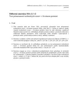 Odborná smernica SSA č.1 v2 Test primeranosti technických rezerv