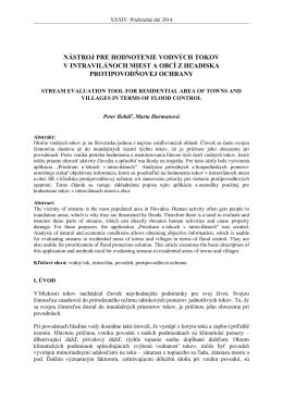 nástroj pre hodnotenie vodných tokov v intravilánoch miest a obcí z