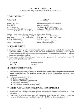 Licenčná zmluva - AURUS - Výskumný ústav detskej psychológie a