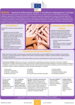 MISSOC - Spoločný informačný systém o sociálnom zabezpečení v