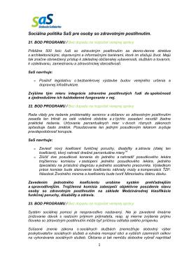 Sociálna politika SaS pre osoby so zdravotným postihnutím.