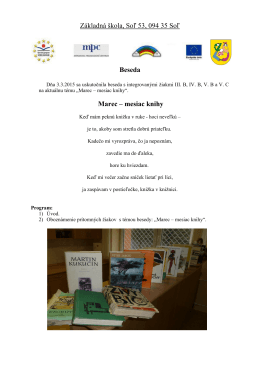 Základná škola, Soľ 53, 094 35 Soľ Beseda Marec – mesiac knihy