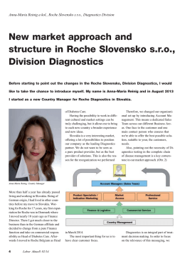 New market approach and structure in Roche Slovensko s.r.o.