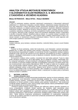 analýza vývoja motivácie robotníkov v slovenských elektrárňach as