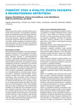 Funkčný stav a kvalita života pacienta s reumatoidnou artritídou