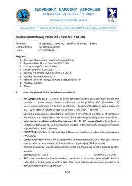 Zápis zo zasadnutia bezmotorovej komisie v Žiline zo dňa 12.4.2014