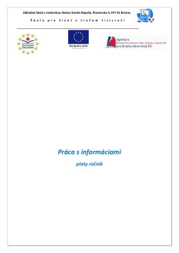 Práca s informáciami - Základná škola s materskou školou Karola