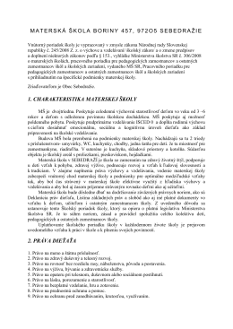 materská škola boriny 457, 972o5 sebedražie 1. charakteristika