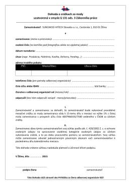 Prihláška za člena odborov - ODBORY Sungwoo Hitech Slovakia sro