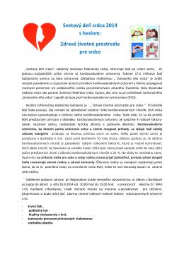 Svetový deň srdca - Regionálny úrad verejného zdravotníctva v