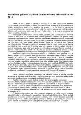 Zdaňovanie príjmov z výkonu činnosti osobnej asistencie za rok 2009
