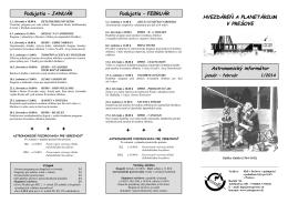 Astronomický informátor 1/2014 - Hvezdáreň a planetárium v Prešove