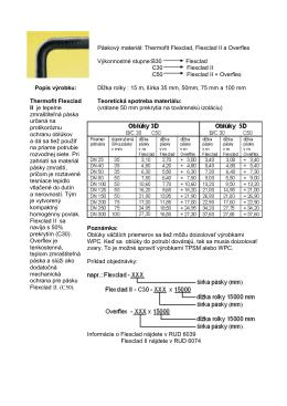 v Popis výrobku: Thermofit Flexclad II je tepelne zmraštiteľná páska