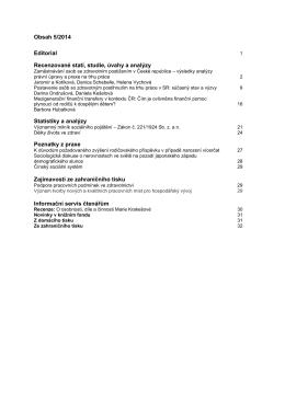 Obsah 5/2014 Editorial Recenzované stati, studie, úvahy a analýzy