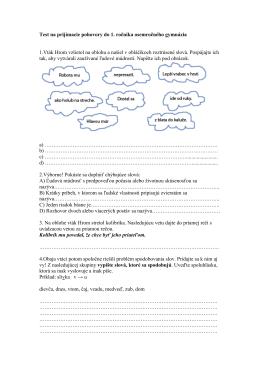 Test na prijímacie pohovory do 1. ročníka osemročného gymnázia 1