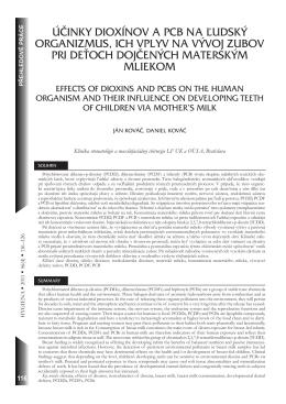 účinky dioxínov a pcb na ľudský organizmus, ich vplyv na vývoj