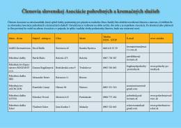 Členovia slovenskej Asociácie pohrebných a kremačných služieb