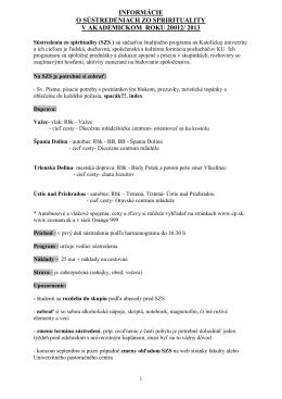 Informácie o sústredeniach zo spirituality v akademickom roku 2012