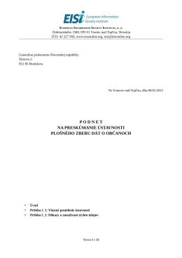 podnet na preskúmanie ústavnosti plošného zberu dát o občanoch