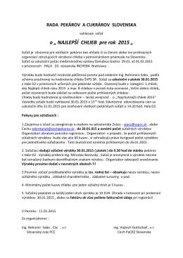 NAJLEPŠÍ CHLIEB pre rok 2015 - Cech pekárov a cukrárov regiónu