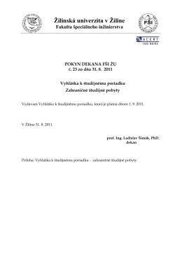 Žilinská univerzita v Žiline - Fakulta bezpečnostného inžinierstva