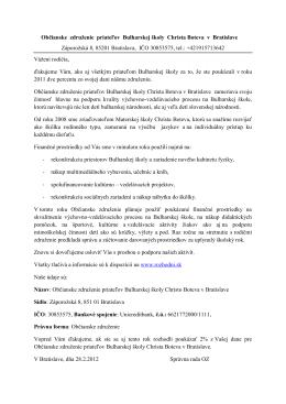 Občianske združenie priateľov Bulharskej školy Christa Boteva v