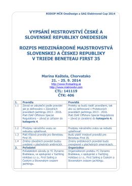 vypsání mistrovství české a slovenské republiky onedesign rozpis
