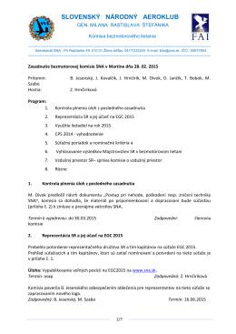 Zápis zo zasadnutia bezmotorovej komisie v Martine zo dňa 28.02