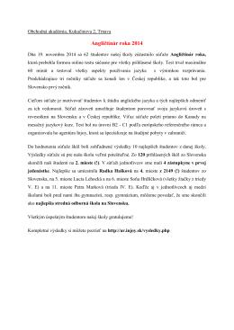 Angličtinár roka 2014 - Obchodná akadémia, Kukučínova 2, Trnava