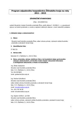 Program odpadového hospodárstva Žilinského kraja na roky 2011