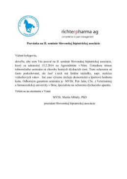 Pozvánka na II. seminár Slovenskej hipiatrickej asociácie Vážení