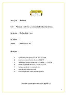Plán práce PK- prírodovedných predmetov: PK_PVP.pdf