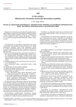 159/2014 Vyhláška Ministerstva životného prostredia Slovenskej